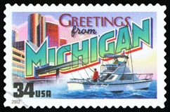US Postage Stamp. UNITED STATES - CIRCA 2002: a postage stamp printed in USA showing an image of the Michigan state, circa 2002 stock image