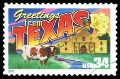 US Postage Stamp. UNITED STATES - CIRCA 2002: a postage stamp printed in USA showing an image of the Texas state, circa 2002 royalty free stock images