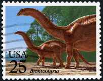 US Postage stamp. USA - Brontosaurus Stock Photography