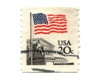 US postage stamp on white background Stock Image