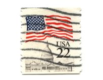 US postage stamp on white background Royalty Free Stock Photo