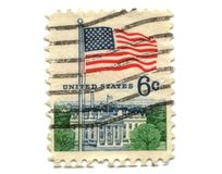 US postage stamp on white background Royalty Free Stock Photography