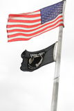 US and POW-MIA FLAGS stock images