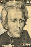 US President Andrew Jackson face on twenty dollar bill macro , united states money closeup. Background stock photo