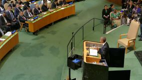 US President Barack Obama holds a speech, the General Assembly of the United Nations. New York, United States. September 20th, 2016: United States President stock video footage