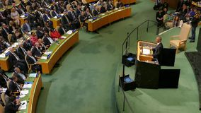US President Barack Obama holds a speech, the General Assembly of the United Nations. New York, United States. September 20th, 2016: United States President stock video