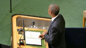 US President Barack Obama holds a speech, the General Assembly of the United Nations. New York, United States. September 20th, 2016: United States President stock footage