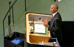 US President Barack Obama holds a speech, the General Assembly of the United Nations UN GA Royalty Free Stock Photo