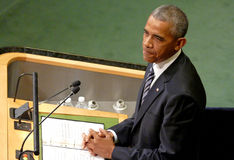 US President Barack Obama holds a speech, the General Assembly of the United Nations UN GA Royalty Free Stock Photography