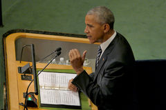 US President Barack Obama holds a speech, the General Assembly of the United Nations UN GA Stock Photo