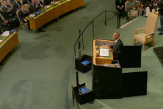 US President Barack Obama holds a speech, the General Assembly of the United Nations UN GA Stock Photography
