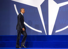 US President Barack Obama at the NATO summit in Warsaw Stock Photography