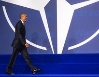 US President Barack Obama at the NATO summit in Warsaw Stock Photo