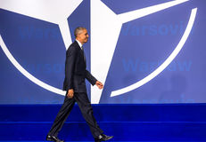 US President Barack Obama at the NATO summit in Warsaw Stock Image
