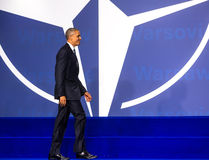 US President Barack Obama at the NATO summit in Warsaw Stock Images