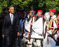 US President Barack Obama reviews the Presidential Guard in Athe Royalty Free Stock Image