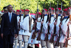 US President Barack Obama reviews the Presidential Guard in Athe Royalty Free Stock Photo
