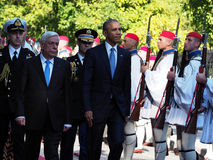 US President Barack Obama reviews the Presidential Guard in Athe Stock Image