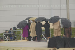 US President, former US Presidents, first wives and others leave the stage after the grand opening ceremony of the William J. Clin Royalty Free Stock Photo