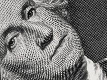 US president George Washington face portrait on the USA one doll Stock Image