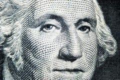 US president George Washington face portrait on the USA one dollar note. Macro shot. Background of the money. George Washington ey stock photo