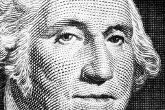 US president George Washington face portrait on the USA one dollar note. Macro shot. Background of the money. George Washington ey. Es macro shot. Black and stock images
