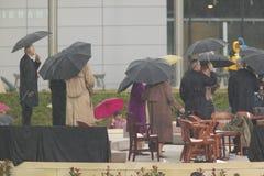 Us-president, tidigare US-presidenter, första fruar och andra på etapp under den storslagna öppningscermonin av William J Clinton Fotografering för Bildbyråer