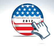 Us presidential election in 2012. Vector button and hand cursor Stock Photography