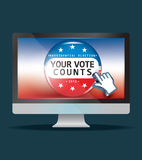 Us presidential election in 2012. Vector button and hand cursor Stock Images