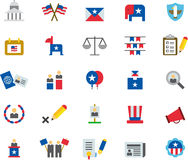 US PRESIDENTIAL ELECTIONS colored flat icons Royalty Free Stock Images