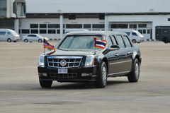 US Presidential State Car. Makes its way across the tarmac at Don Muang International Airport as President Barack Obama begins a SE Asia tour on Nov 18, 2012 in Stock Photography