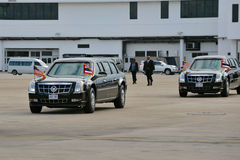 US Presidential State Car. S make their way across the tarmac at Don Muang International Airport as President Barack Obama begins a SE Asia tour on Nov 18, 2012 Royalty Free Stock Photo