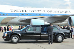 US Presidential State Car. S waits by Air Force One on the tarmac at Don Muang International Airport as President Barack Obama begins a historic SE Asia tour on Stock Image