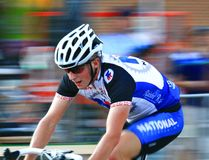US Pro Bicycling on street course stock image