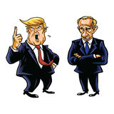 US Präsident Donald Trump und russische Porträt-Illustration Präsidenten-Vladimir Putin Vector Cartoon Caricature Lizenzfreie Stockfotografie