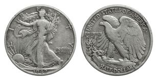 US Half Dollar 50 cents silver coin 1942 royalty free stock photos