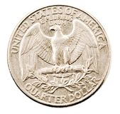 Us quarter dollar coin. Isolated over white Stock Photography
