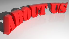`ABOUT US` in red. `ABOUT US` written with red 3D letters on white background Royalty Free Stock Images