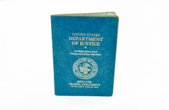 US refugee travel document Royalty Free Stock Photo