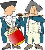 US revolutionary war drummer and piper. This illustration that I created depicts American revolutionary war soldiers with a drum and flute Royalty Free Stock Image