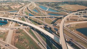 US Roads and Highways. I75 Interstate and I595 Highway. Aerial, drone view. US Roads and Highways. I75 Interstate and I595 Highway in Broward County, Florida royalty free stock images