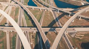 US Roads and Highways. I75 Interstate and I595 Highway. Aerial, drone view. US Roads and Highways. I75 Interstate and I595 Highway in Broward County, Florida royalty free stock image