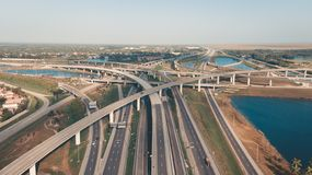 US Roads and Highways. I75 Interstate and I595 Highway. Aerial, drone view. US Roads and Highways. I75 Interstate and I595 Highway in Broward County, Florida stock photo