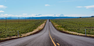 US Route 20 east of Bend, Oregon. Central Oregon Highway overlooking The Sisters just east of Bend, Oregon royalty free stock photography