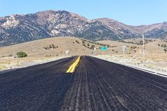 US Route 50 Nevada - The Loneliest Road in America. Vista of an endless stretch of road along US 50 Nevada stock images