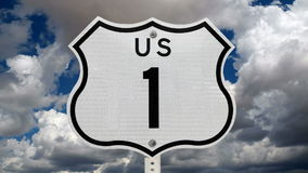 US Route One Sign Time Lapse. US Route One sign with time lapse clouds stock video footage