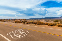 US Route 66 sign on highway Stock Image