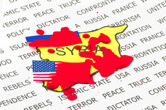The US and Russia The bloody confrontation. In Syria Royalty Free Stock Photo