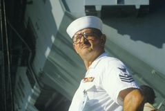 US Sailor aboard the USS Kennedy Stock Photo