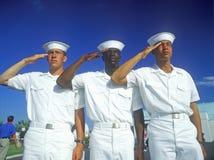 US sailors saluting stock photo